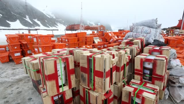supplies at base orcadas which is an argentine scientific station in antarctica and the oldest of the stations in antarctica still in operation it is... - wetterstation stock-videos und b-roll-filmmaterial