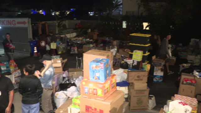 ktla supplies for woolsey fire victims arrive in malibu by boat - donation box stock videos & royalty-free footage