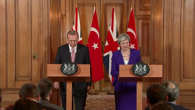 support in israel for gaza military operation england london int recep tayyip erdogan and theresa may mp along to podiums at joint press conference... - minister president stock videos and b-roll footage