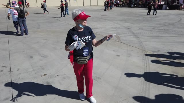 supporter hands out free bumper stickers during a campaign rally for u.s. president donald trump at phoenix goodyear airport october 28, 2020 in... - bumper stock videos & royalty-free footage