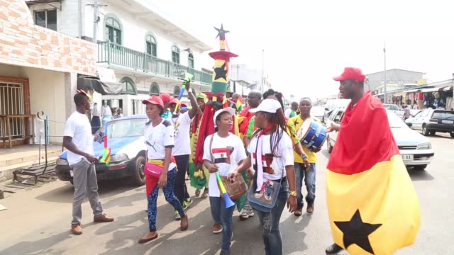 supporter of ghana and mali are brighten up streets ahead of the african cup of nations 2017, group d football match between ghana and mali in... - ghana stock videos & royalty-free footage