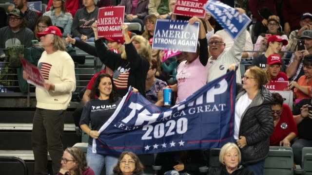 supporters attend a rally with president donald trump at the midamerica center on october 9 2018 in council bluffs iowa - 民主主義点の映像素材/bロール