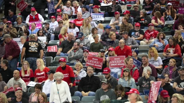 supporters attend a rally with president donald trump at the midamerica center on october 9 2018 in council bluffs iowa - us republican party stock videos & royalty-free footage
