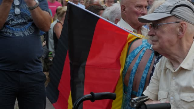 supporters attend the final afd campaign trail stop before the elections on august 30 2019 in konigs wusterhausen germany brandenburg and the... - german flag stock videos & royalty-free footage