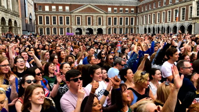 supporters await the result of the irish referendum on the 8th amendment, concerning the country's abortion laws at dublin castle on may 26, 2018 in... - referendum stock videos & royalty-free footage