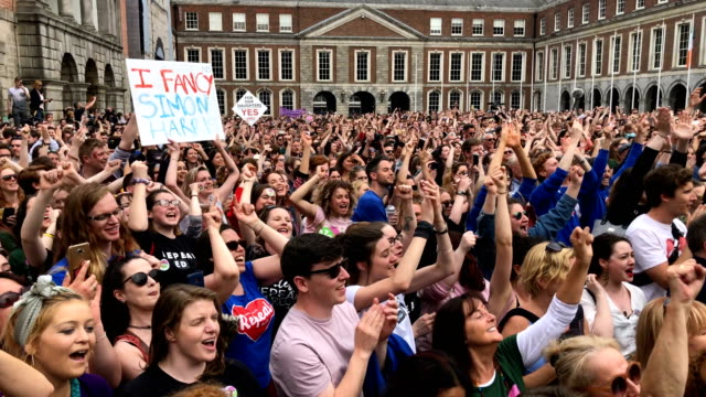 Supporters await the result of the Irish referendum on the 8th amendment concerning the country's abortion laws at Dublin Castle on May 26 2018 in...