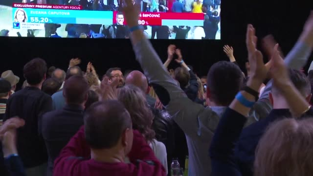 supporters celebrate after slovak government critic zuzana caputova winning the election and became the eu member's first female head of state - eastern european culture stock videos & royalty-free footage