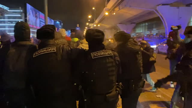 "supporters of alexei navalny, russia's most prominent opposition figures, protesting and being arrested outside airport where his plan was due to... - ""bbc news"" stock videos & royalty-free footage"