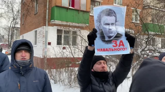 "supporters of alexei navalny, russia's most prominent opposition figure, protesting outside police station in moscow, where he is being detained - ""bbc news"" stock videos & royalty-free footage"