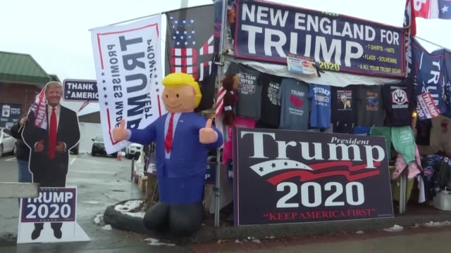 supporters of donald trump share their excitement as they wait in line ahead of the us president's rally in manchester new hampshire on the eve of... - new hampshire stock videos & royalty-free footage