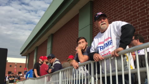 supporters of donald trump stand in line before a donald trump rally at the indiana state fairgrounds in indianaapolis, indiana. trump needs the... - 2016 stock videos & royalty-free footage