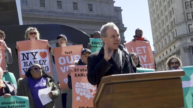 Supporters of Early Voting rallied at Foley Square in downtown Manhattan urging Albany to include NY State among the 37 states that have Early Voting...