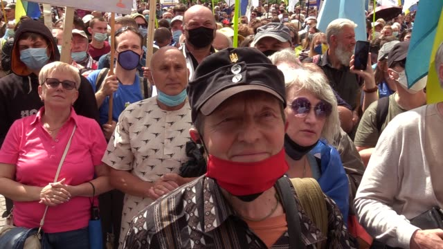 supporters of former ukrainian president petro poroshenko attend a protest during a court hearing at the pechersky district court in kyiv, ukraine,... - raw footage stock videos & royalty-free footage