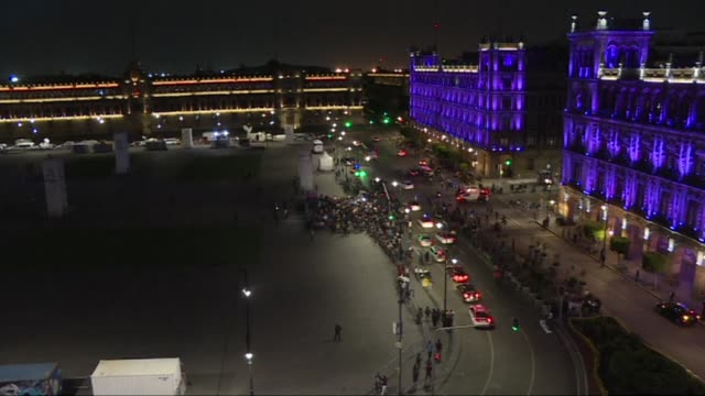 supporters of frontrunner andres manuel lopez obrador gather in the famous zocalo plaza in mexico city to celebrate after exit polls showed the... - zocalo mexico city stock videos & royalty-free footage