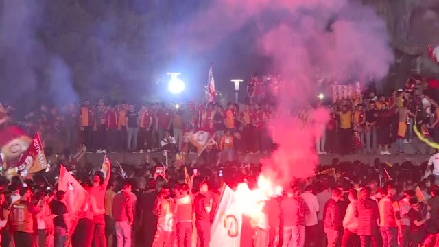 Supporters of Galatasaray in Ankara capital of Turkey take to the streets after Galatasaray became the champion in Turkish Super League after beating...
