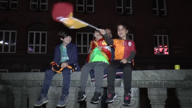 Supporters of Galatasaray in Copenhagen take to the streets after Galatasaray became the champion in Turkish Super League after beating Medipol...
