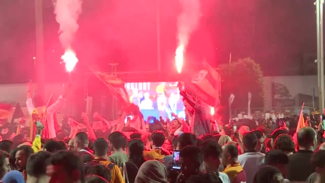 Supporters of Galatasaray in Istanbul take to the streets after Galatasaray became the champion in Turkish Super League after beating Medipol...