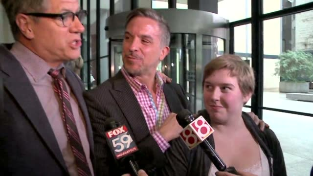 supporters of gay marriage talk to reporters after attending a hearing before the 7th us circuit court of appeals on the challenges to indiana and... - court hearing stock videos and b-roll footage