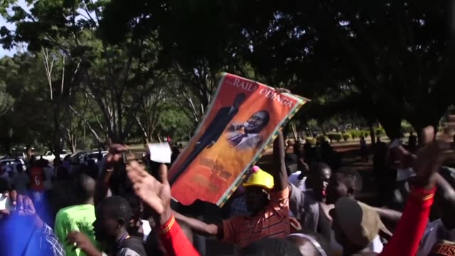 supporters of kenyan opposition leader raila odinga gather in nairobi ahead of a ceremony to swear him in as an alternative president three months... - raila odinga stock videos and b-roll footage