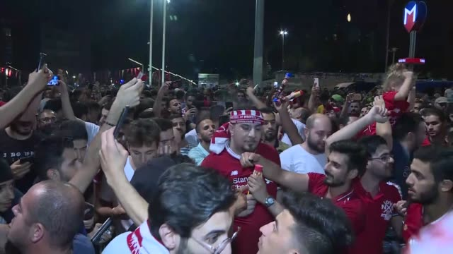 Supporters of Liverpool celebrate at Taksim Square following Liverpool captured the 2019 UEFA Super Cup late Wednesday at Istanbul's Vodafone Park...