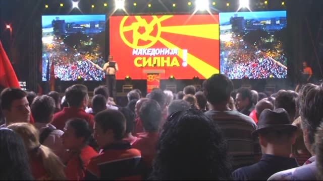 supporters of macedonian government gather for progovernment rally organized by the vmrodpmne and the coalition for better macedonia in skopje... - skopje stock videos and b-roll footage