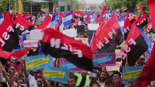 supporters of nicaraguan president daniel ortega and his sandinista national liberation front party rally in managua to show their support for the... - fordern stock-videos und b-roll-filmmaterial