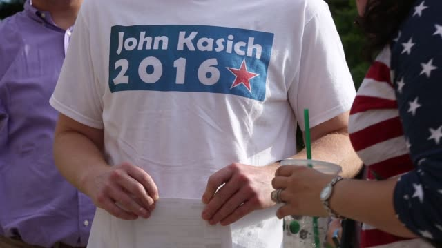 supporters of ohio governor john kasich fill the stands inside the ohio state university student union in columbus ohio us on tuesday july 21 2015... - ohio state university stock videos & royalty-free footage