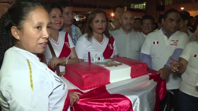 supporters of peru's vice president martin vizcarra react as he arrives in lima - martín vizcarra stock videos & royalty-free footage