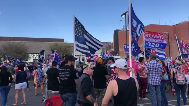 supporters of president donald trump demonstrate at a 'stop the steal' rally in front of the maricopa county elections department office on november... - arizona video stock e b–roll