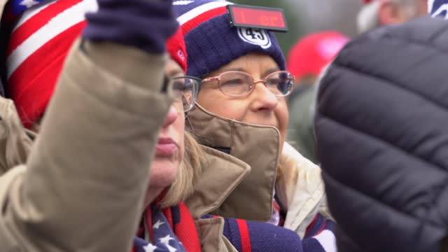 """supporters of president donald trump gather at the """"stop the steal"""" rally on january 06, 2021 in washington, dc. trump supporters gathered in the... - political rally stock videos & royalty-free footage"""