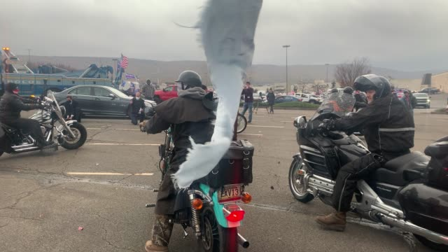 supporters of president donald trump participate in a car and motorcycle rally at a mall on november 1, 2020 in wilkes-barre, pennsylvania. president... - motorbike stock videos & royalty-free footage