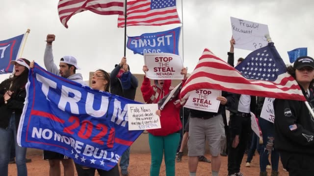 supporters of president donald trump protest outside the clark county election department on november 7, 2020 in north las vegas, nevada. joe biden... - clark county nevada stock videos & royalty-free footage