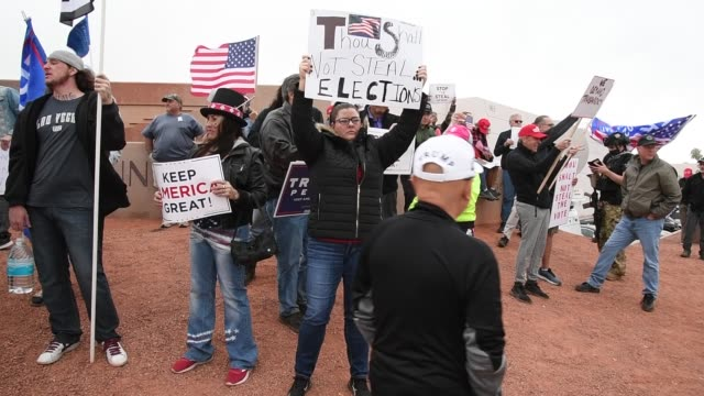 supporters of president donald trump protest outside the clark county election department on november 7, 2020 in north las vegas, nevada. joe biden... - nevada stock videos & royalty-free footage