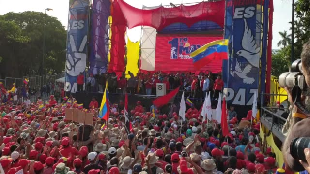 supporters of president nicolas maduro gather near miraflores palace during a demonstration on may 01 2019 in caracas venezuela - maduro stock videos & royalty-free footage