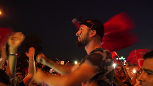 Supporters of President Recep Tayyip Erdogan celebrate in Istanbul after the attempted military coup fails