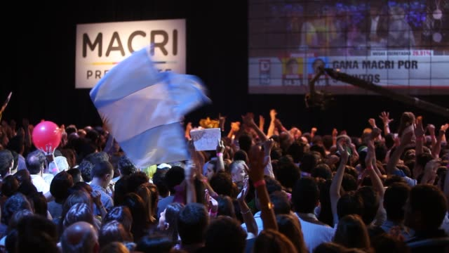 supporters of presidentelect mauricio macri celebrate his victory in argentina's presidential runoff election on november 22 2105 in buenos aires... - mauricio macri stock videos and b-roll footage