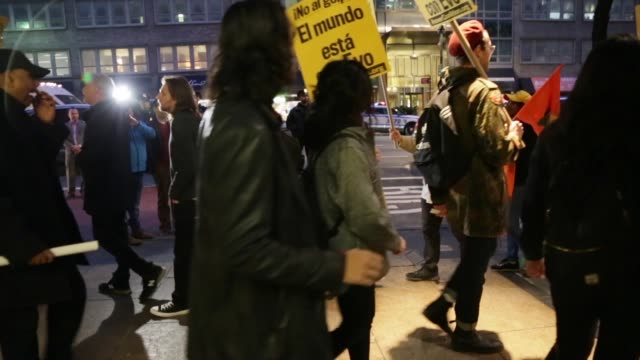 supporters of recently resigned bolivian president evo morales marched in new york city on november 11, 2019. - evo morales stock videos & royalty-free footage