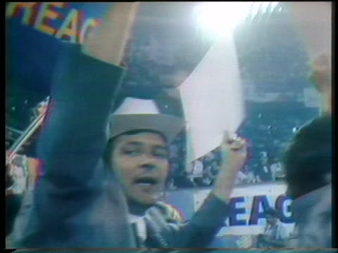 supporters of ronald reagan's 1976 presidential campaign gather on the floor of the 1976 republican national convention in kansas city. - nomination stock videos & royalty-free footage