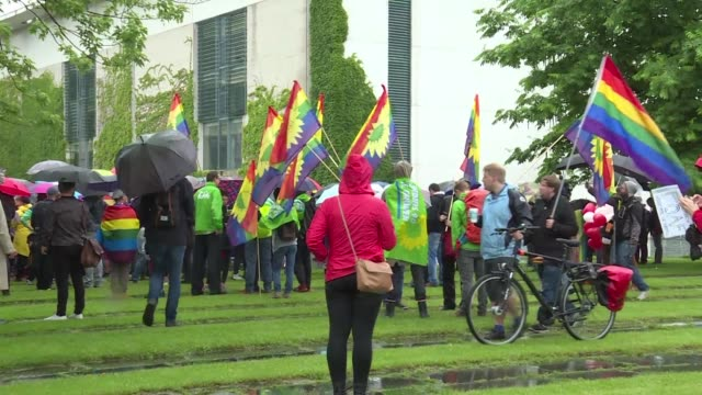 Supporters of same sex marriages in Germany celebrate after the country's parliament legalises gay marriage