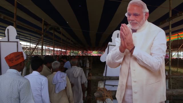 supporters of the bharatiya janata party gather together in support of indian prime minister narendra modi during a rally in muzaffarpur, bihar,... - political rally stock videos & royalty-free footage