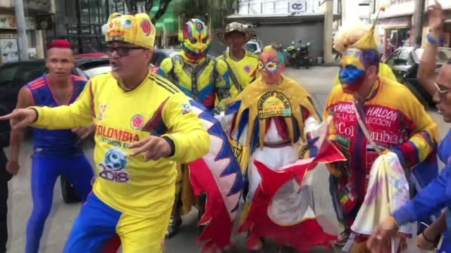 supporters of the colombian national football team cheer during the farewell to the squad ahead of the upcoming fifa world cup russia 2018 tournament... - fifa world cup 2018 stock videos & royalty-free footage
