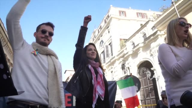 supporters of the metoo movement gathered in rome on saturday to join the rome rises women's march designed to show solidarity for the protection of... - social movement stock videos & royalty-free footage
