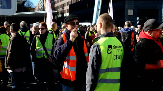 supporters of the new leftwing stand up movement gather at a demonstration at potsdamer platz on february 16 2019 in berlin germany founded by the... - social movement stock videos & royalty-free footage