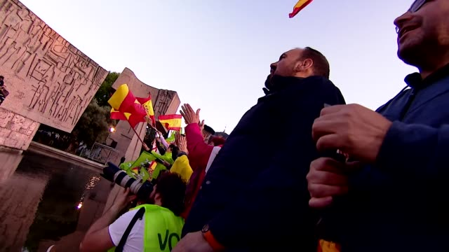 supporters of the rightwing vox party at a rally in madrid - all european flags stock videos and b-roll footage