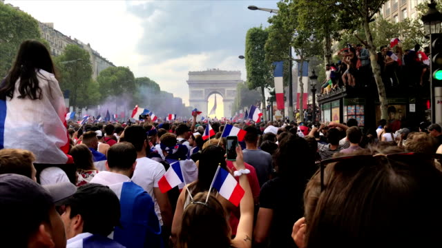 supporters on champs elysées during the fifa world cup 2018 in paris france - fifa world cup stock videos & royalty-free footage
