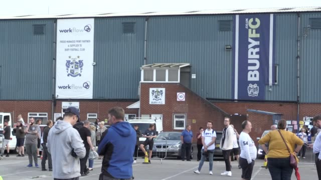 stockvideo's en b-roll-footage met supporters wait for news as bury are now almost certain to be expelled from the english football league after a proposed takeover by c and n sporting... - english football association