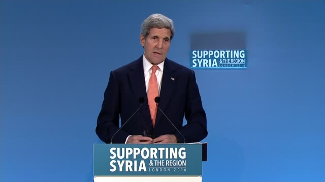 World leaders pledge 7 billion pounds ENGLAND London Queen Elizabeth II Conference Centre INT John Kerry speech SOT If people are reduced to eating...