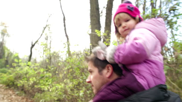 Supportive Dad Walk in the Woods