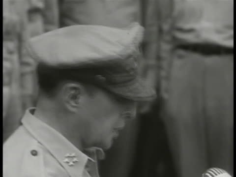 supreme allied commander us army general macarthur on uss missouri deck sot saying 'now invitejapanesesign the surrender at places indicated' end of... - japanese surrender stock videos and b-roll footage