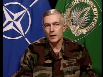 supreme commander general wesley clark discusses military operation joint guardian. - (war or terrorism or election or government or illness or news event or speech or politics or politician or conflict or military or extreme weather or business or economy) and not usa stock videos & royalty-free footage